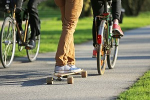bicycles and skateboards